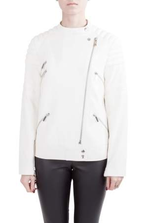 Elizabeth and James White Quilted Shoulder Detail Culkin Biker Jacket S