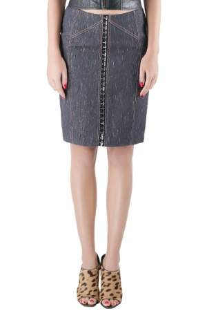 Versace Indigo Textured Denim Hook Detail Pencil Skirt M