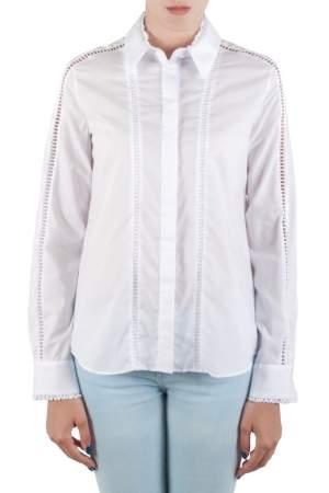 Preen by Thornton Bregazzi White Cotton Poplin Eyelet Lace Trim Long Sleeve Shirt M