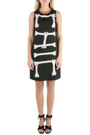 Moschino Cheap and Chic Black Crepe Skeleton Print Dress S