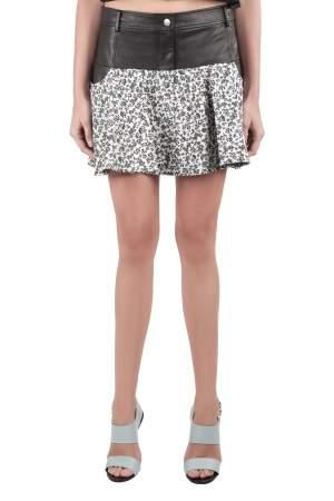 Thakoon Addition Black Leather Yoke and Jacquard Floral Pattern Skirt M
