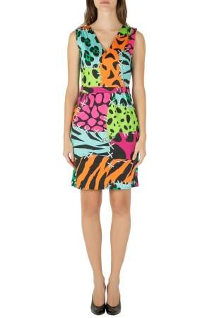 Moschino Cheap and Chic Multicolor Animal Print Cotton Poplin Dress M