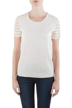 Moschino Cheap and Chic Cream Crepe and Lace Sleeve Detail Top S