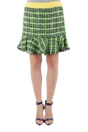 Moschino Cheap and Chic Textured Knit Multicolored Checkered Skirt M