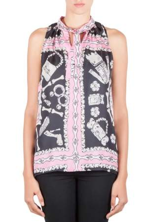 Moschino Cheap and Chic Pink and Black Silk Flinstone Print Detail Top M
