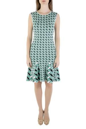 Zac Zac Posen  Multicolored Knit Geometric Pattern Godet Dress S
