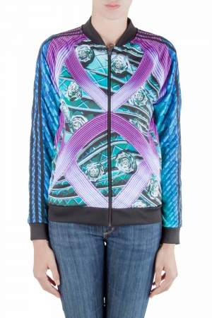 Adidas by Mary Katrantzou Multicolor Abstract Printed Jersey Bomber Jacket XS