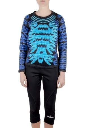 Adidas by Mary Kantrantzou Blue Perforated Neoprene Logo Print Top XS