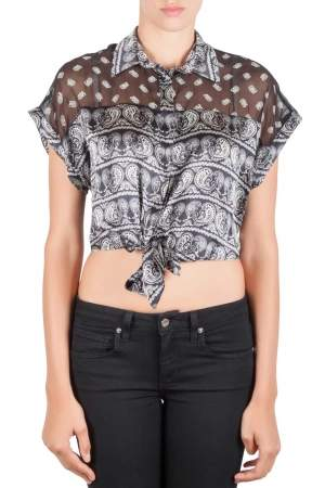 Pierre Balmain Black Paisley Printed Silk Semi Sheer Tie Knot Crop Top L