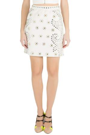 Moschino Cheap and Chic Cream Crepe Beaded Floral Pattern Skirt S