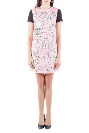 Moschino Cheap and Chic Pink Crepe Flinstone Printed Detail Dress S