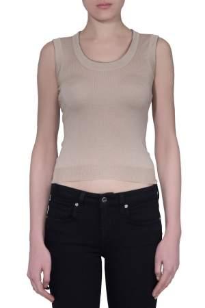 Prada Sand Brown Silk Wool Knit Sleeveless Top S