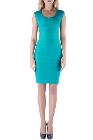 Herve Leger Jade Green Sleeveless Scoop Neck Bandage Dress XS