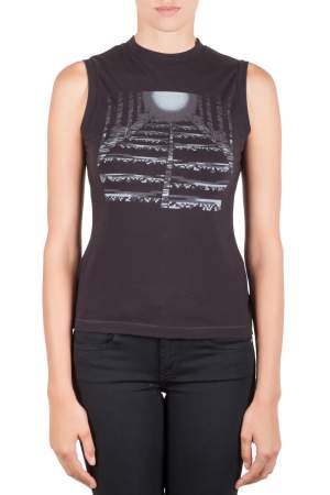 Peter Pilotto Black Cotton Pixel Moon Print Sleeveless Top M