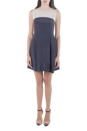 3.1 Philip Lim Navy Blue and Beige Silk Color Block Dress S