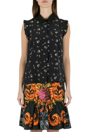 Marni Navy Blue Printed Silk Ruffled Detail Sleeveless Shirt M
