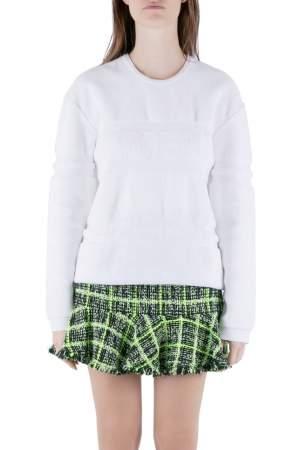 Alexander Wang White Terrycloth Knit Wet Embossed Sweatshirt M