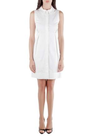 Jil Sander White Sleeveless Button Front Dress S