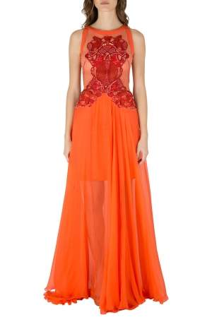 Zuhair Murad Orange Silk Chiffon Embellished Bodice Gown S