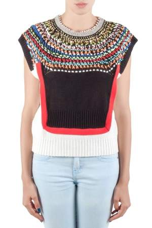 Tsumori Chisato Multicolor Embellished Cotton Knit Cap Sleeve Top S