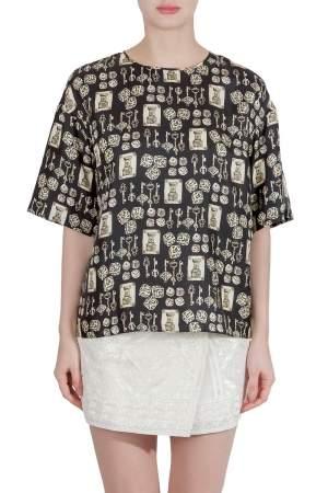 Dolce & Gabbana Black and Beige Dice Key Printed Silk Short Sleeve Top M
