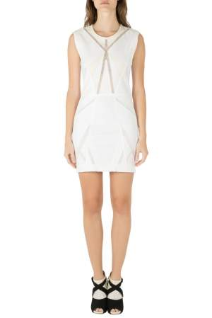 IRO White Panelled Cotton and Leather Patch  Ambre Dress M