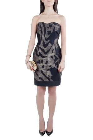 Yigal Azrouel Black and Bronze Wool Jacquard Strapless Dress S