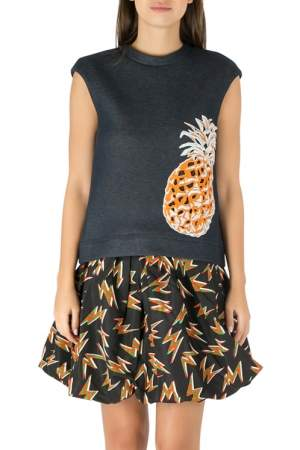 MSGM Indigo Blue Cotton Knit Pineapple Applique Sleeveless Sweatshirt S