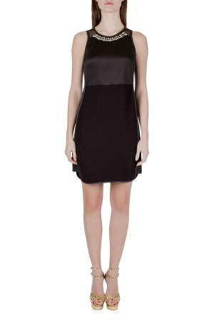 Rebecca Taylor Black Neoprene and Mesh Embellished Neckline Dress S