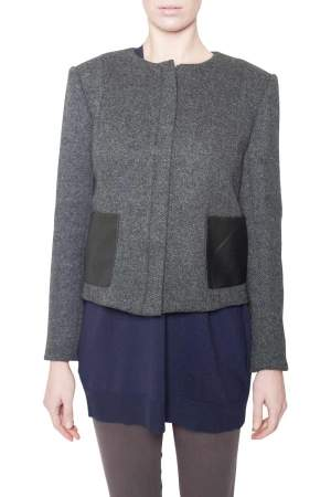 Theory Charcoal Grey Wool Leather Pocket Detail Hilde Jacket M