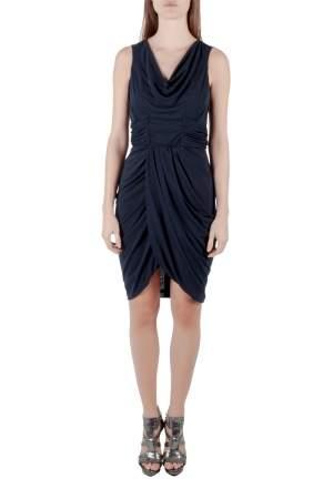 J Mendel Navy Blue Silk Jersey Draped Waist Detail Short Dress M