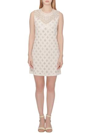 Anna Sui Cream Crochet Cotton Lace Overlay Embellished Sleeveless Shift Dress S