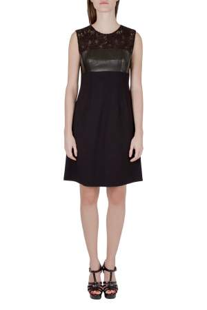 Rebecca Taylor Black Lace and Leather Panel Detail Dress S