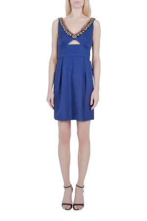 Lela Rose Cobalt Blue Embellished Cut Out Detail Plunge Neck Bodycon Dress XS
