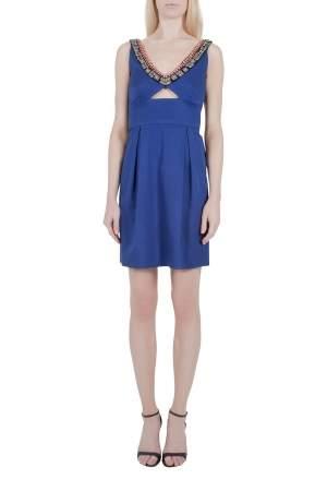 فستان بوديكون ليلا روز أزرق كوبالت مزخرف بتفريغات مزينة رقبة واسعة XS
