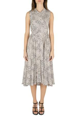 Rebecca Taylor Pale Pink Silk Animal Print Ruched Midi Dress M