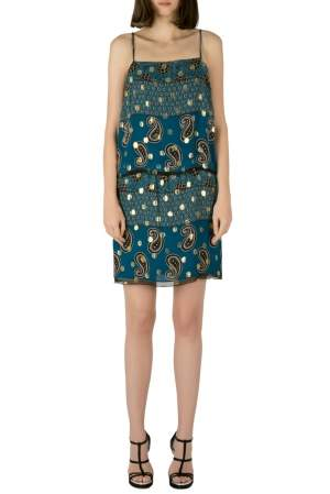 Anna Sui Teal Blue Paisley Print Chiffon Lurex Insert Strappy Dress M