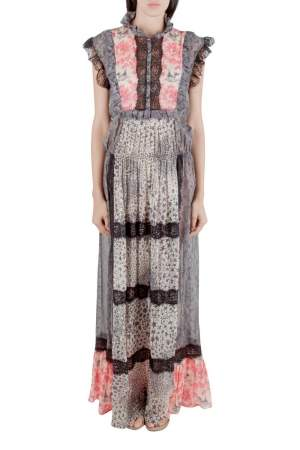 Amen Multicolor Silk and Lace Trim Multiprint Maxi Dress M