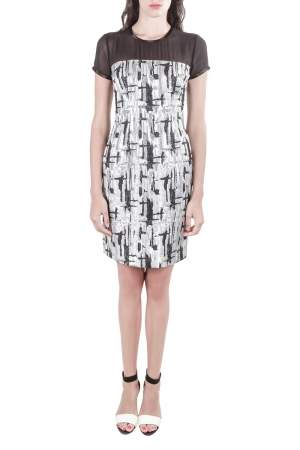 Mikael Aghal Black and Silver Textured Jacquard Dress S