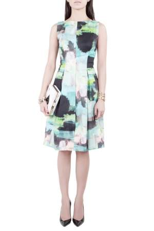 Lela Rose Multicolor Abstract Print Cotton Bateau Neck Sheath Dress S