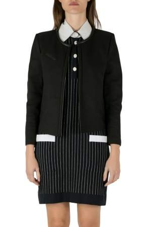 IRO Black Twill Leather Trim Open Front Tim Jacket M