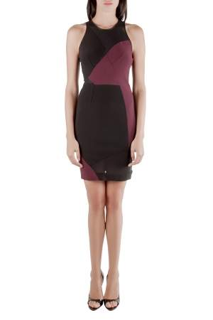 Yigal Azrouel Burgundy Stretch Knit Mesh Patch Detail Dress S