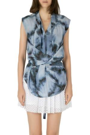 IRO Grey Abstract Printed Silk Orphee Wrap Top M