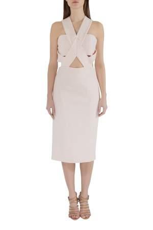 Nicholas Blush Pink Cut Out Detail Bandage Wrap Bodycon Dress M