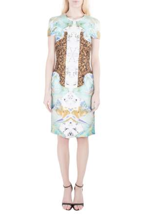 Josh Goot Multicolor Marbled Digital Print Silk Sheath Dress S