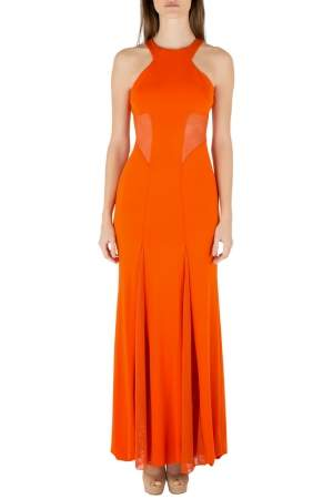 Cushnie Et Ochs Tangerine Orange Stretch Satin Jersey Mesh Paneled Gown S