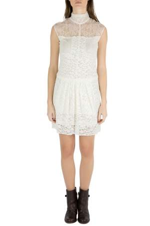 Nina Ricci Ivory Sheer Yoke Lace Turtleneck Dress S