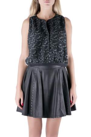 Yigal Azrouel Jet Optic Paisley Embroidered Lace Crop Top M