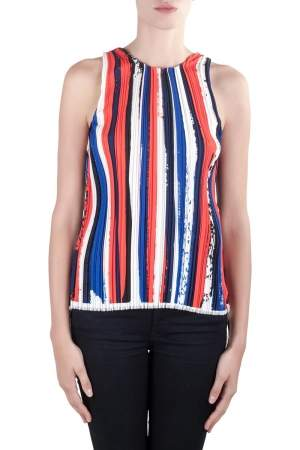 Dion Lee II Multicolor Plisse Striped Knit Sleeveless Top M