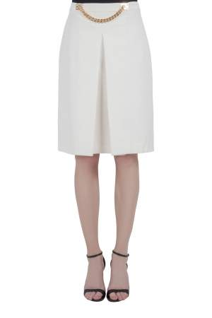 Sophie Hulme Ivory Stretch Gabardine Chain Embellished Inverted Pleat Front Skirt M
